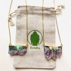 Amethyst Geode Slice & Turquoise 24K Gold Necklace
